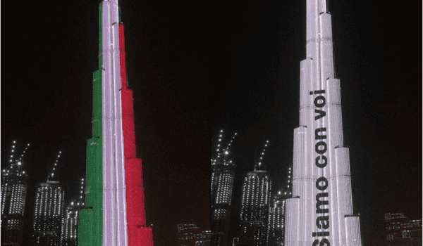 BURJ KHALIFA LIGHTS UP IN SOLIDARITY WITH ITALY.