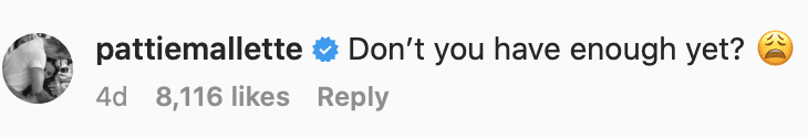 """Justin Beiber's mother's comment on instagram """"don't you have enough yet?"""""""